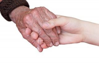 Young-and-old-hand-on-a-white-background
